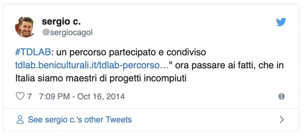 Tweet Sergio Cagol chiusura lavori TDLAB