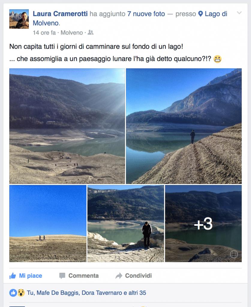 La meraviglia del lago di Molveno svuotato