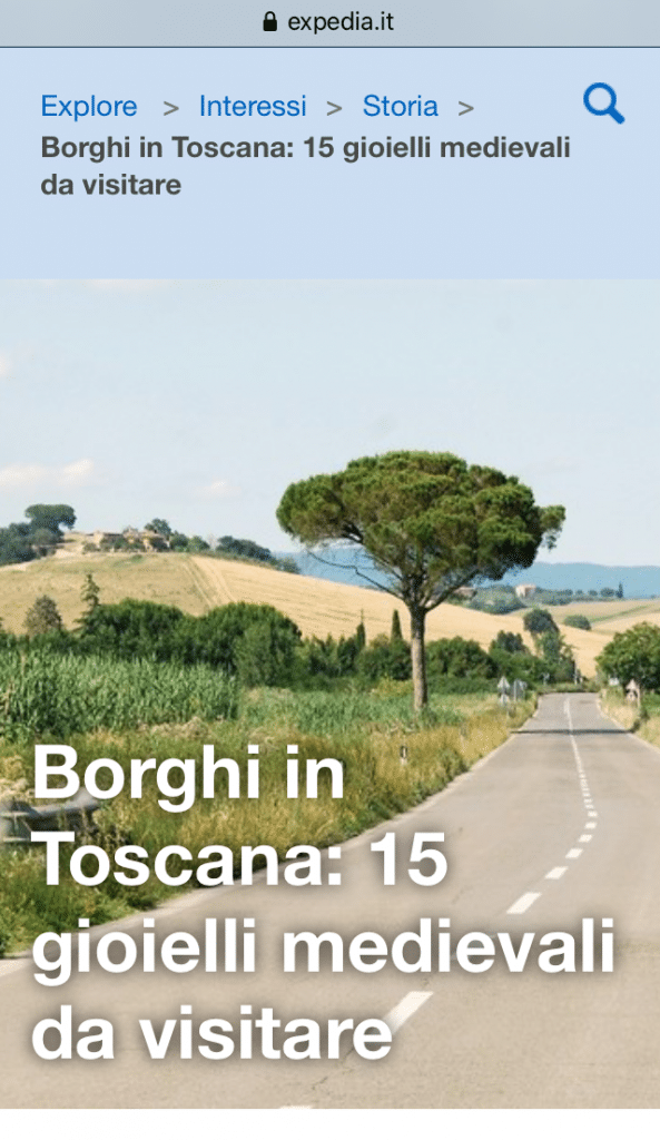 Quindici borghi da visitare in Toscana (su Expedia)