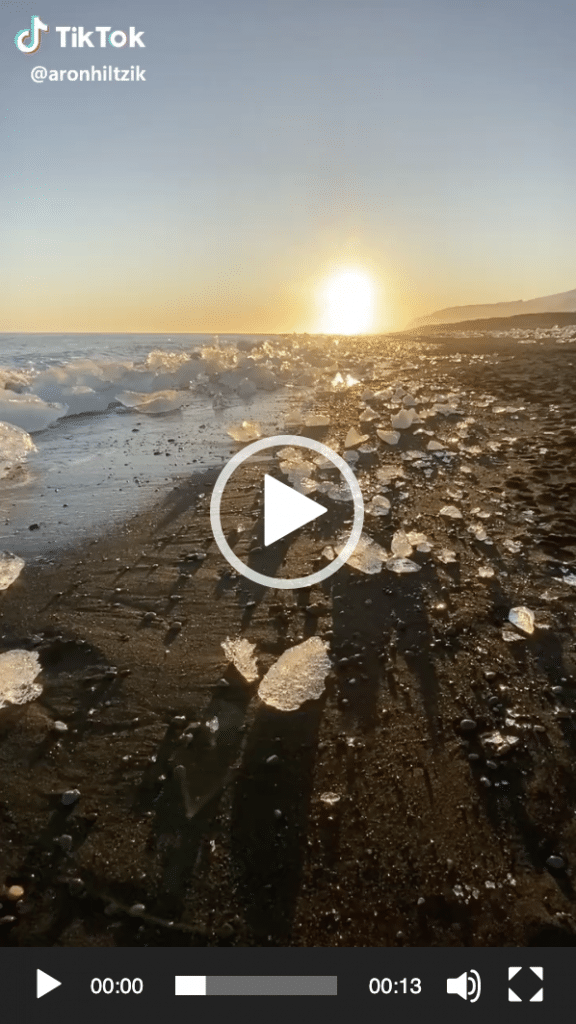 Tiktok l'alba in spiaggia in Islanda